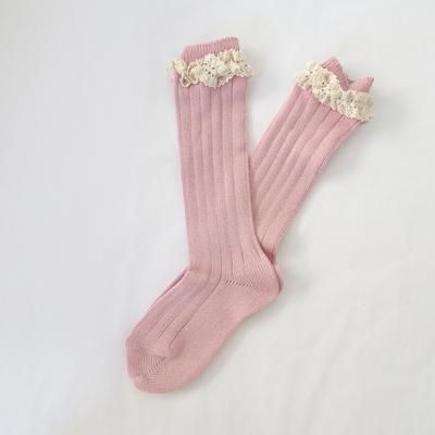 Chaussettes hautes chaudes dentelle coloris rose pâle