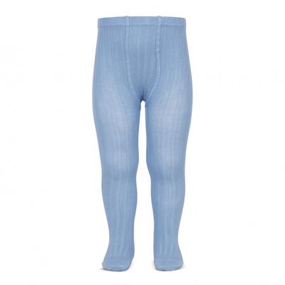 Collants maille côtelée coloris Bleu