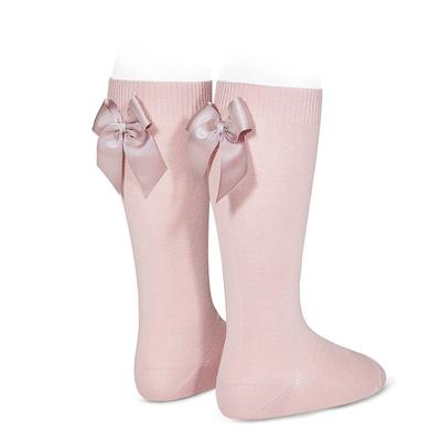 Chaussettes hautes à noeuds coloris Rose Pâle