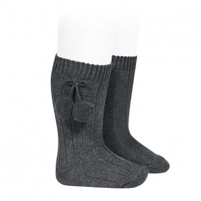 Chaussettes hautes maille côtelée à pompons coloris Anthracite