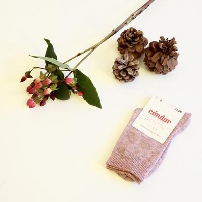 Chaussettes chaudes coton/laine coloris Rose Pâle