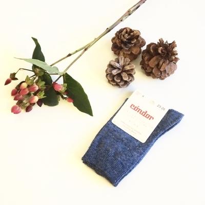 Chaussettes chaudes coton/laine coloris Bleu Jean