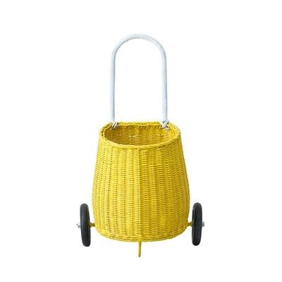 Panier à roulettes en rotin pour enfants Luggy coloris jaune