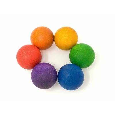 6 boules en bois Grapat arc-en-ciel