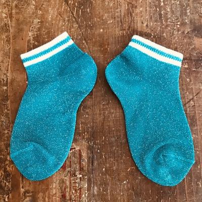 Socquettes unies lurex bordure rayée coloris émeraude