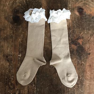 Chaussettes hautes dentelle et noeud coloris Corde