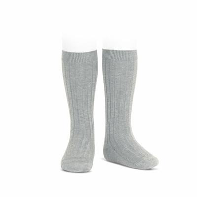 Chaussettes hautes maille côtelée coloris Aluminium
