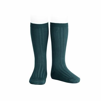 Chaussettes hautes maille côtelée coloris Pétrole