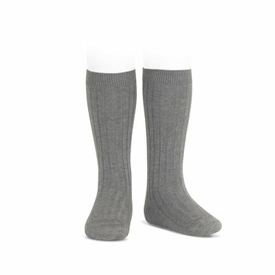 Chaussettes hautes maille côtelée coloris Light Grey