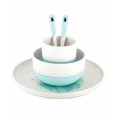 Coffret 5 pièces vaisselle en bambou thème Banquise