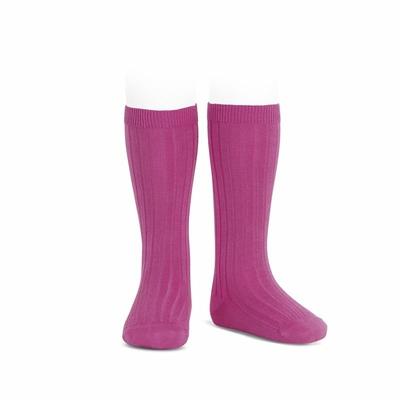 Chaussettes hautes maille côtelée coloris Bougainvillier