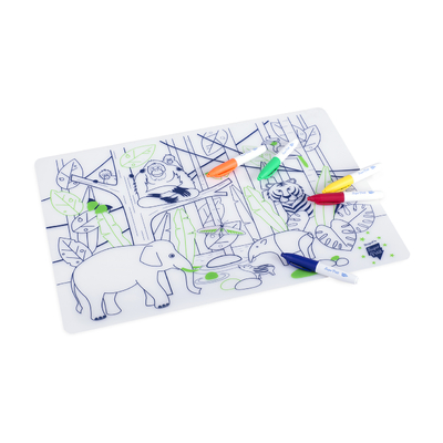 Set de table en silicone à colorier avec 5 feutres - Jungle Asie Sud Est Wild LIfe - bracelet Vert