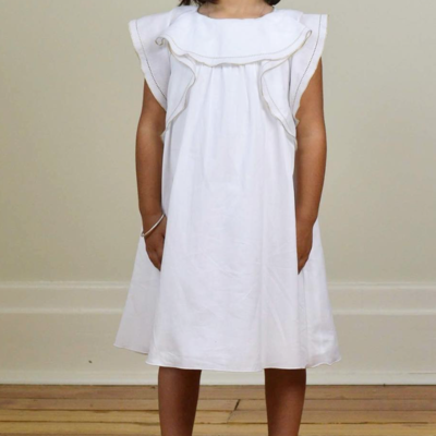 Robe Ava White with Gold (12 mois, 24 mois, 36 mois, 4 ans, 6 ans, 8 ans, 10 ans)