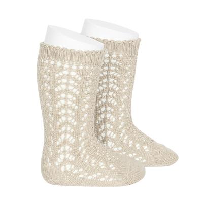 """Chaussettes hautes ajourées """"dentelle"""" en coton perlé coloris Lin"""