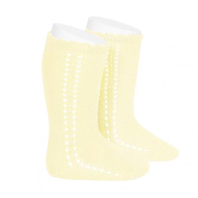 Chaussettes hautes ajourées côté en coton perlé coloris Beurre