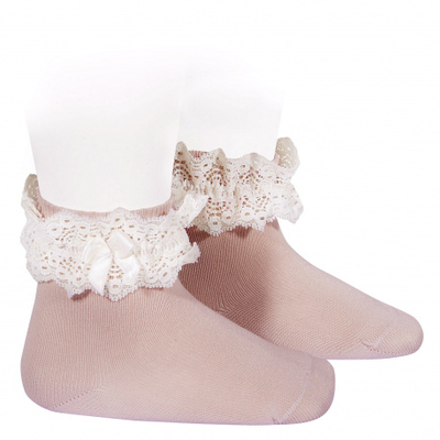 Chaussettes dentelle et noeud coloris Rose pâle