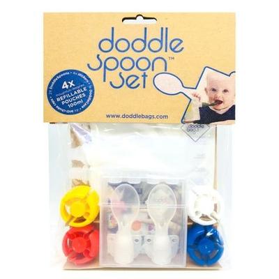 """Pack de 4 gourdes réutilisables et embouts """"cuillère"""" Doddle Spoon"""