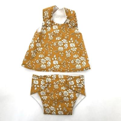 Robe et culotte pour poupée de 30 à 36 cm Liberty Capel moutarde