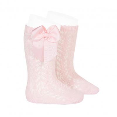 Chaussettes hautes ajourées avec nœud coloris rose