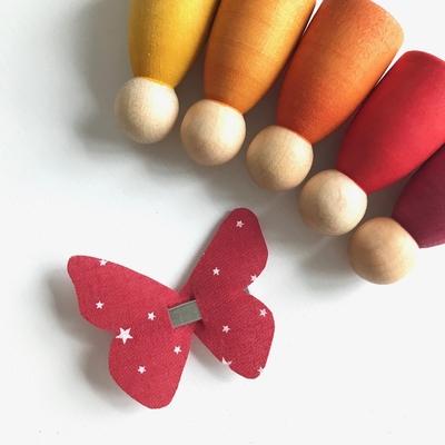 Barrette Papillon Première Etoile coloris paprika