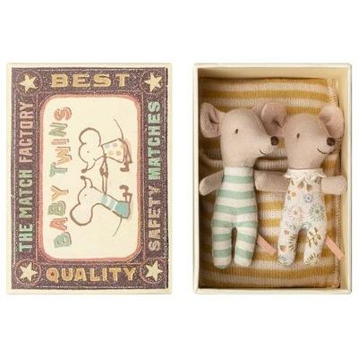 Jumeaux Souris Maileg : bébés souris dans leur boîte d'allumettes