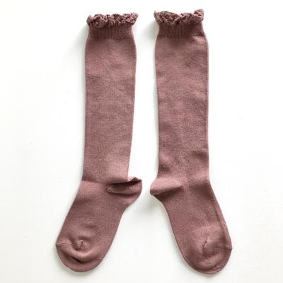 Chaussettes hautes unies bordure dentelle coloris Praliné