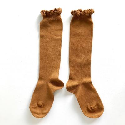 Chaussettes hautes unies bordure dentelle coloris Toffee
