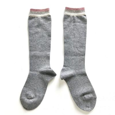 Chaussettes hautes Skater bordure lurex rayée coloris Light Grey