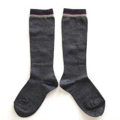 Chaussettes hautes Skater bordure lurex rayée coloris Anthracite