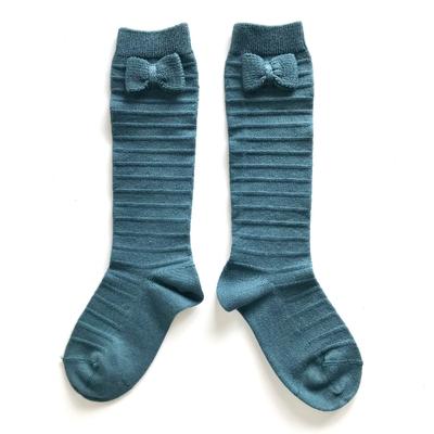 Chaussettes hautes Relief avec noeud tricot coloris Pétrole