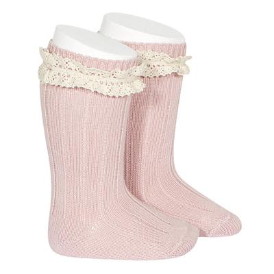 Chaussettes hautes chaudes Vintage dentelle coloris rose pâle