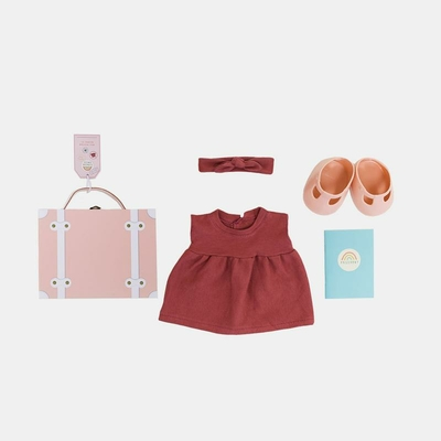 Set de voyage Dinkum Doll Travel Tog coloris rose
