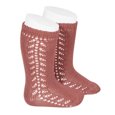 Chaussettes hautes chaudes ajourées côté coloris Terracota