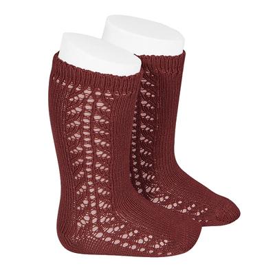Chaussettes hautes chaudes ajourées côté coloris Bordeaux