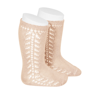 Chaussettes hautes chaudes ajourées côté coloris Nude