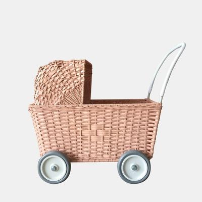 Landau pour poupées en rotin Strolley coloris rose