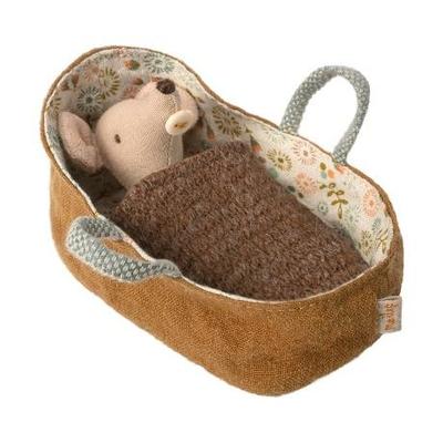 Souris Maileg : bébé dans son couffin (couverture marron)