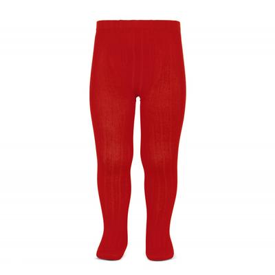 Collants maille côtelée coloris Rouge