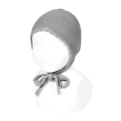 Bonnet/béguin point mousse en coton Light Grey