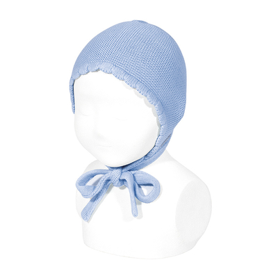 Bonnet/béguin point mousse en coton coloris Bleu clair
