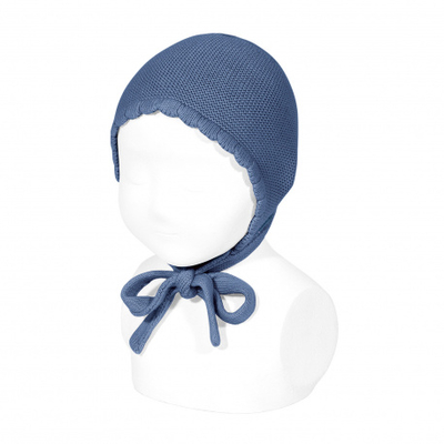 Bonnet/béguin point mousse en coton coloris French Blue
