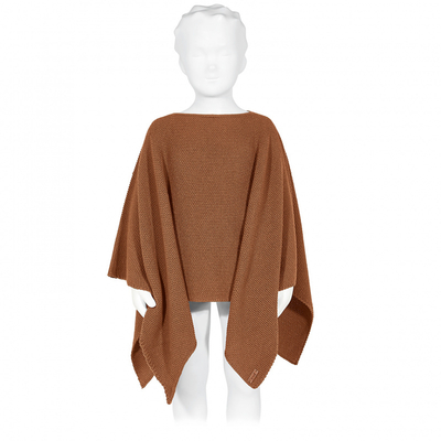 Poncho au point de riz coloris Toffee