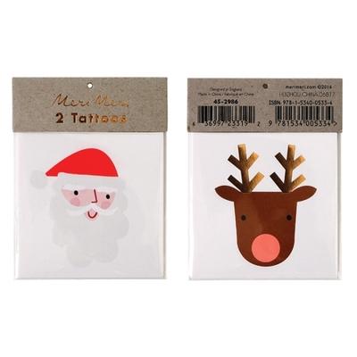 Tatouages temporaires Père Noël et Renne