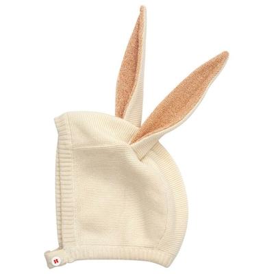 Bonnet lapin en coton bio, oreilles coloris pêche à paillettes - 0/6 mois