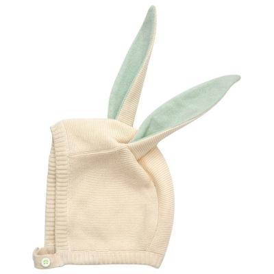 Bonnet lapin en coton bio, oreilles coloris menthe à paillettes - 0/6 mois