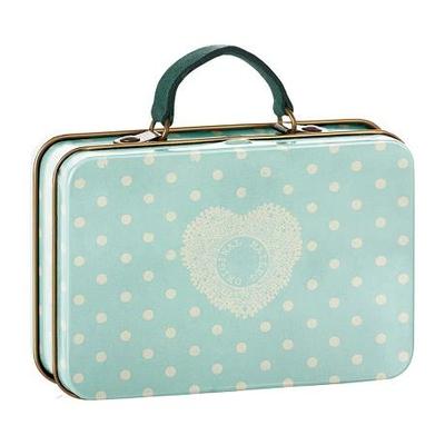 Valise en métal modèle pois et coeur fond bleu