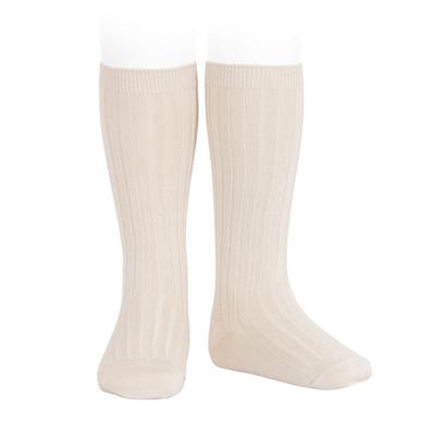 Chaussettes hautes maille côtelée coloris Lin