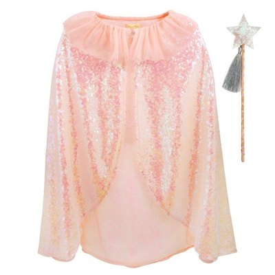 Cape recouverte de sequins, collerette rose, et baguette à paillettes