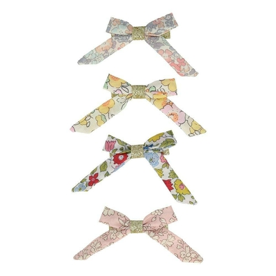 Lot de 4 barrettes noeuds en Liberty