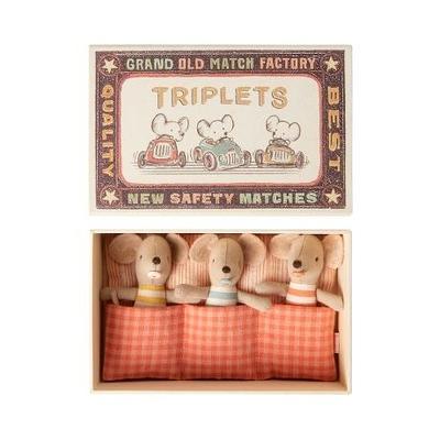 Souris Maileg : triplés dans leur boîte d'allumettes